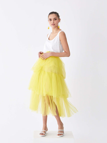 ROMAN USA-Lemon Tiered Tutu Skirt-- [YELLOW]