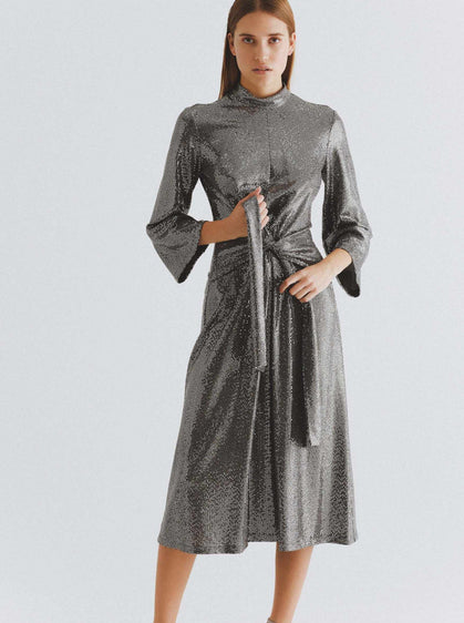 Shimmery Mockneck Cocktail Dress