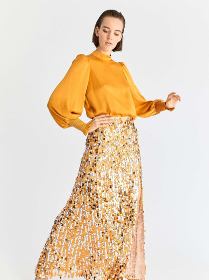 ROMAN USA-Gold & Silver Sequin Maxi-- [ORANGE]