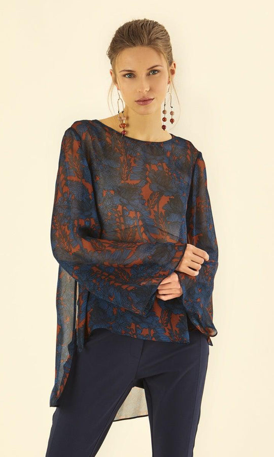 WIDE SLEEVE FLORAL TUNIC