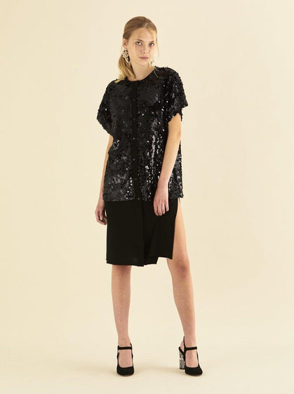 ROMAN USA-Sequin Top Drop-Waist Dress-- [BLACK]