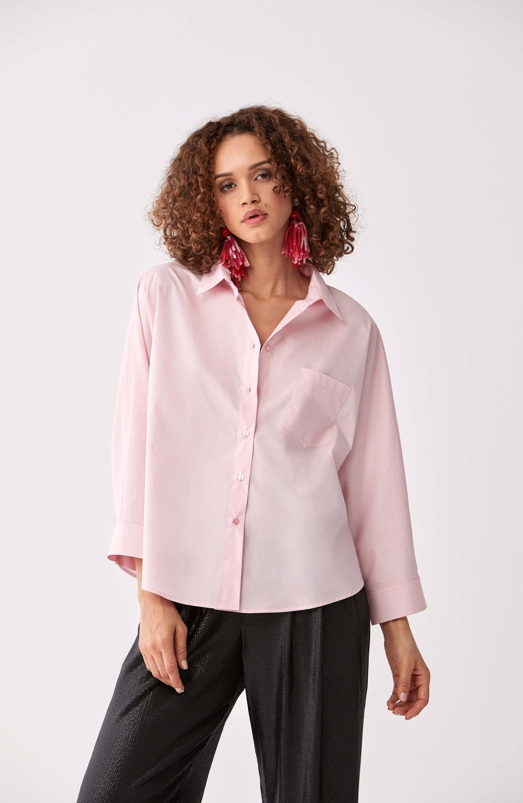 ROMAN USA-Classic Cotton Button Down-- [DUSTY - PINK]