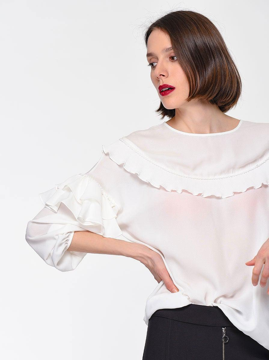 ROMAN USA-Tiered Ruffle Trim Blouse-- [OFF - WHITE]