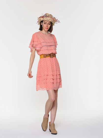 Butterfly  Cap Sleeve Ruffle Dress