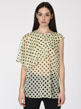 POLKA DOT ONE SLEEVE BLOUSE