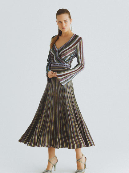Elastic Panel Striped Wrap Top