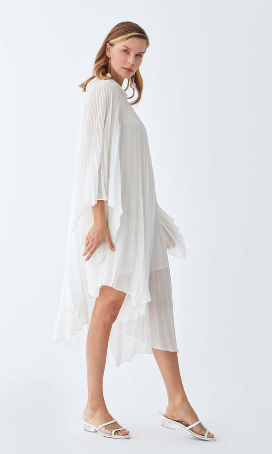 Knife Pleat Midi Dress