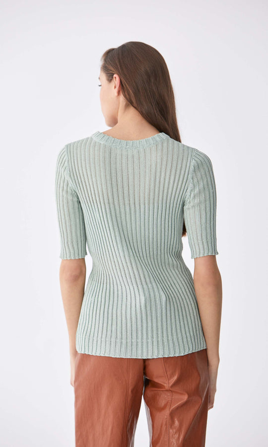 Ribbed 1/2 Sleeve Sweater