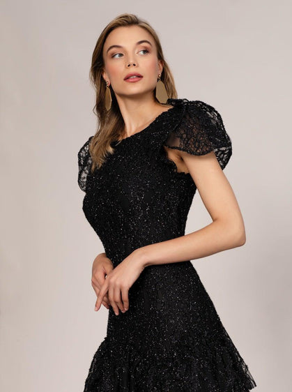 ROMAN USA-Puff Sleeve Tiered Skirt Evening Gown-- [BLACK]
