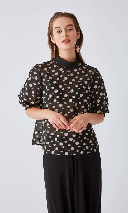 Mockneck Puffer Sleeve Top