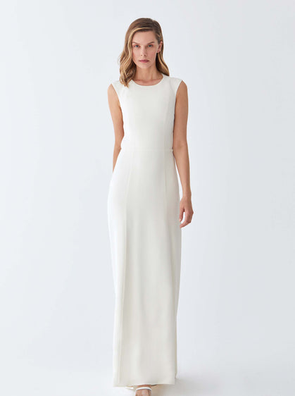 Cream Slit Neckline Evening Gown