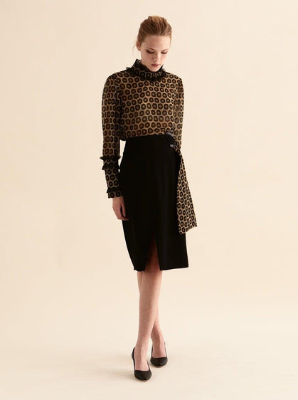 ROMAN USA-Deco Belted Wrap Skirt-- [BLACK]