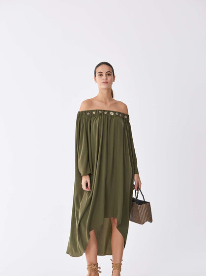 ROMAN USA-Buttom Trim Off-Shoulder Dress-- [GREEN]