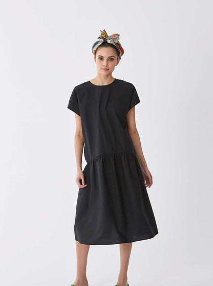 ROMAN USA-Seamless Cap Sleeve Cocktail Dress-- [BLACK]