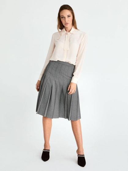 ROMAN USA-Pleated A-Line Skirt-- [GREY]
