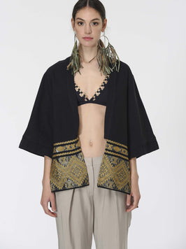 WIDE SLEEVE GOLD PATTERNED KIMONO