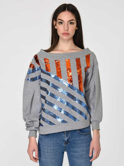 ROMAN USA-Heather Grey Sequin Sweater-- [ORIGINAL]