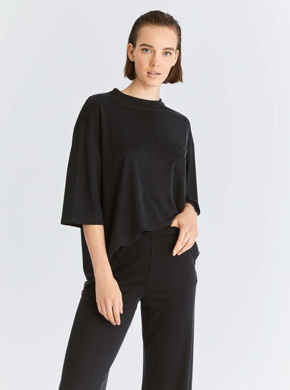 ROMAN USA-Sporty Wide Leg Stretch Pant-- [BLACK]