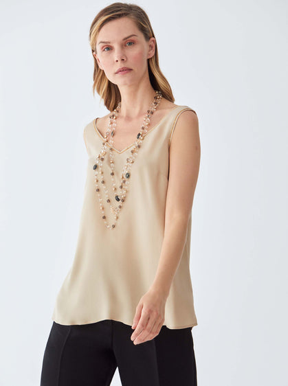 ROMAN USA-Essential V-Neck Longline Top-- [BEIGE]