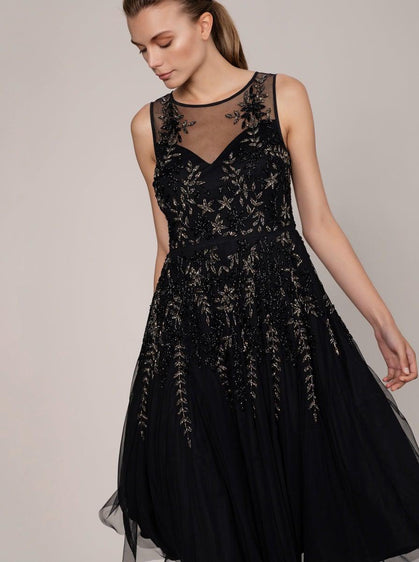 ROMAN USA-Opulent Hand Beaded Evening Gown-- [BLACK]