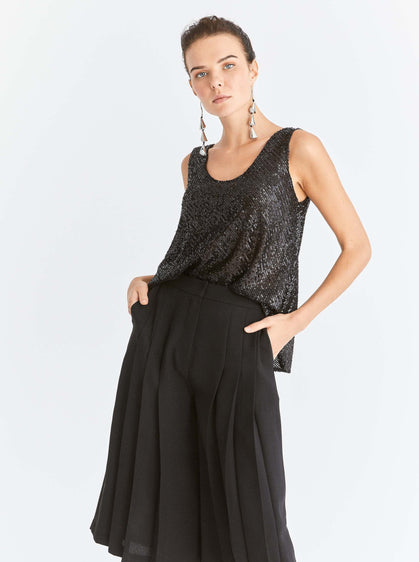 ROMAN USA-Pleated Black Culotte-- [BLACK]