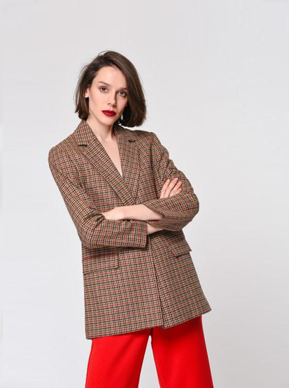 Notched Red Checked Blazer