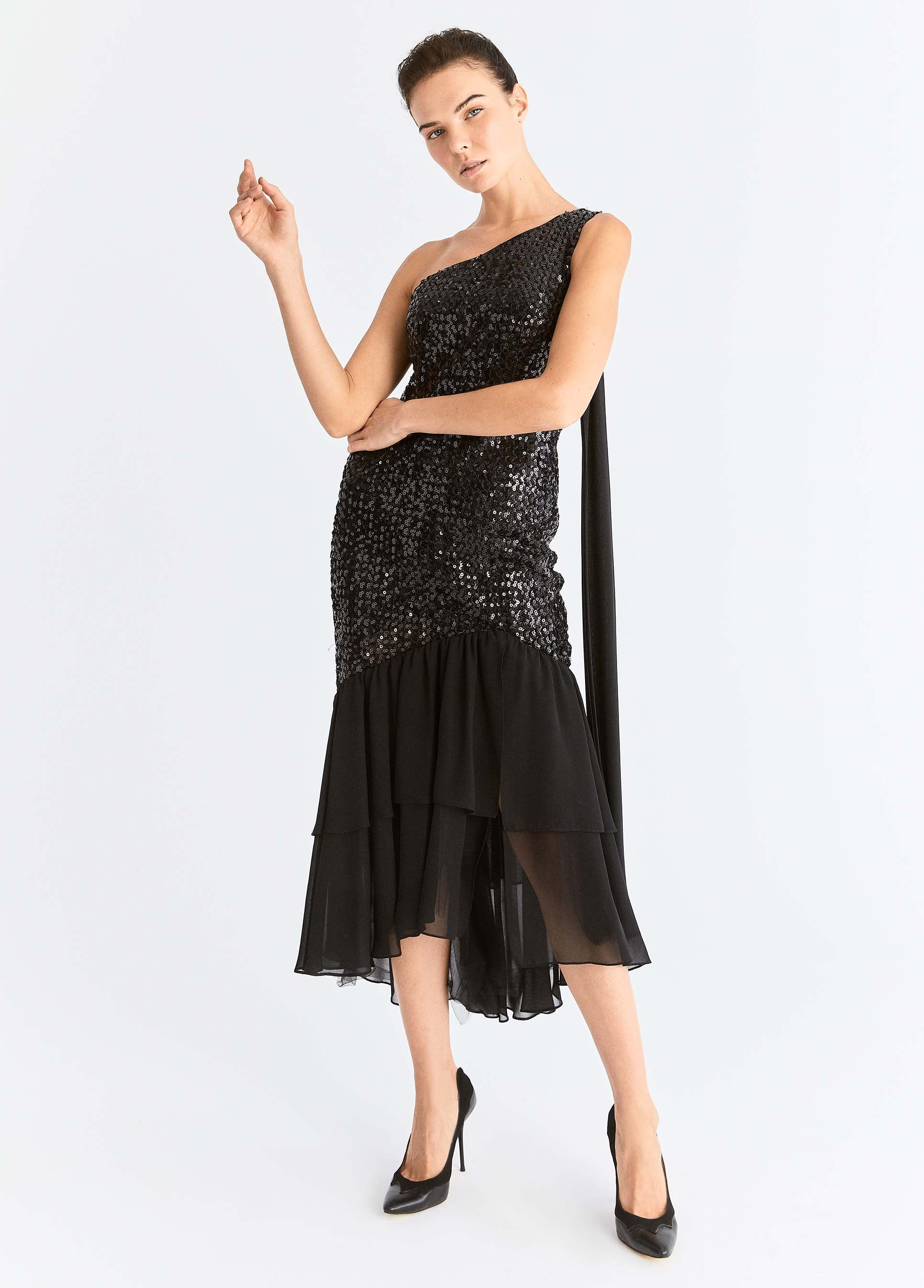 ROMAN USA-Asymmetrical Sequin Flounce Trim Dress-- [BLACK]