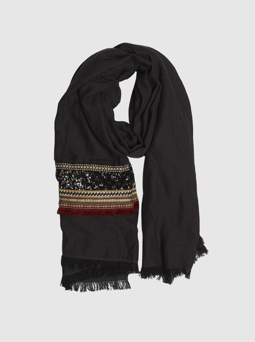 ROMAN USA-Cotton Embellished Scarf-- [ORIGINAL]