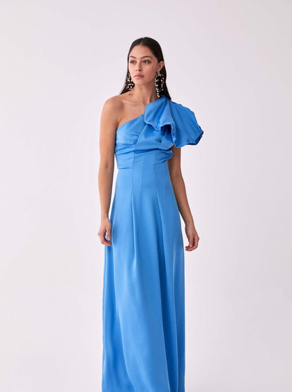 ROMAN USA-Rose-Ruffle Detailed Evening Gown-- [BLUE]