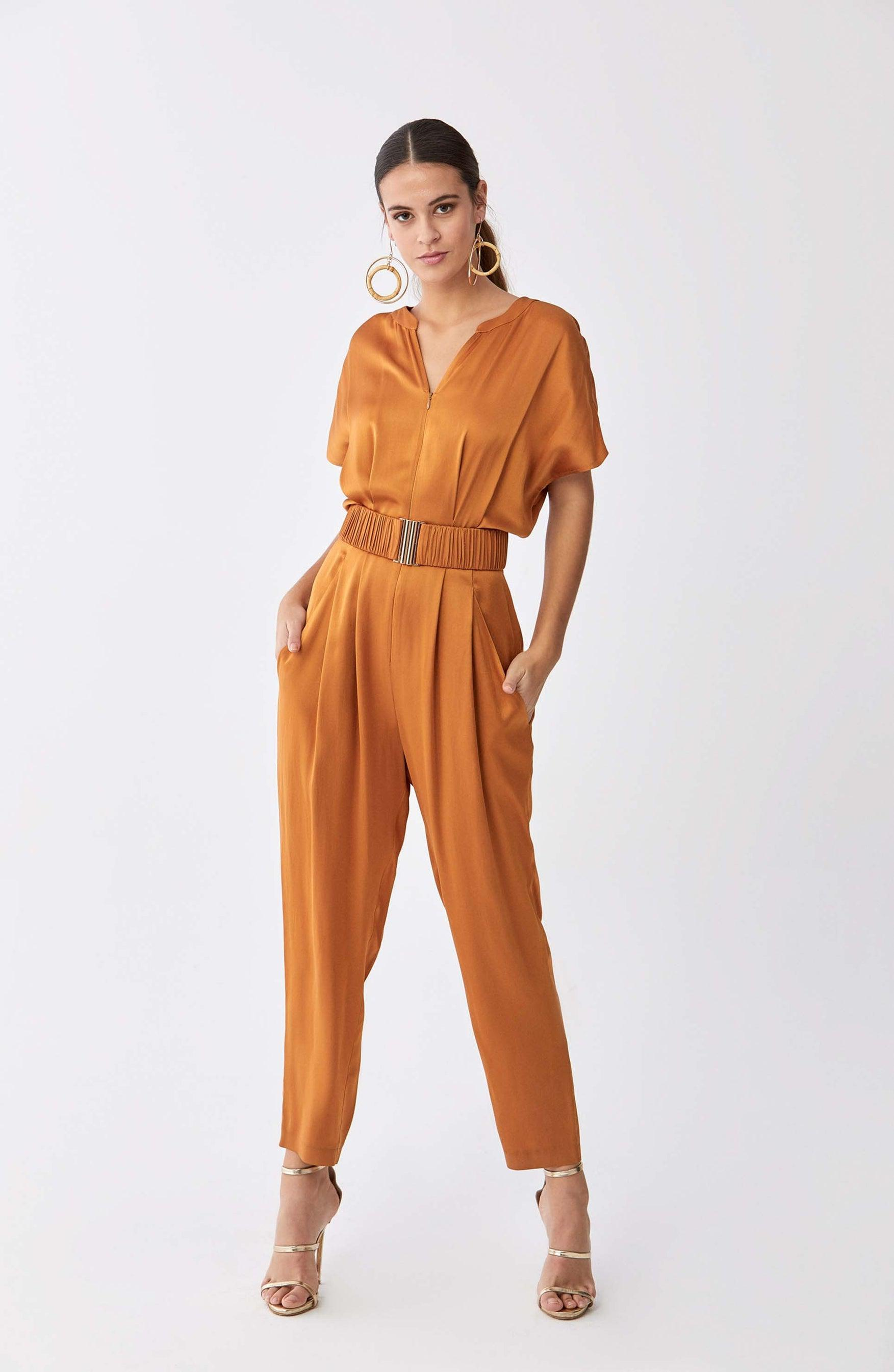 ROMAN USA-Gloss Tan Jumpsuit-- [MUSTARD]