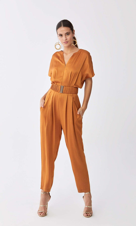 Gloss Tan Jumpsuit