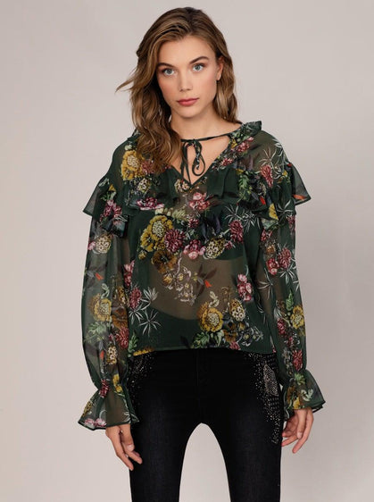 SHEER FLORAL CAP SLEEVE BLOUSE