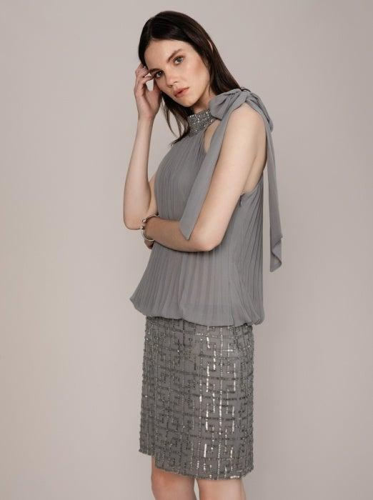 ROMAN USA-Deco-Embellished Silver Dress-- [GREY]