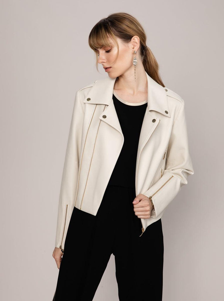 ZIPPER DETAILED LEATHER JACKET