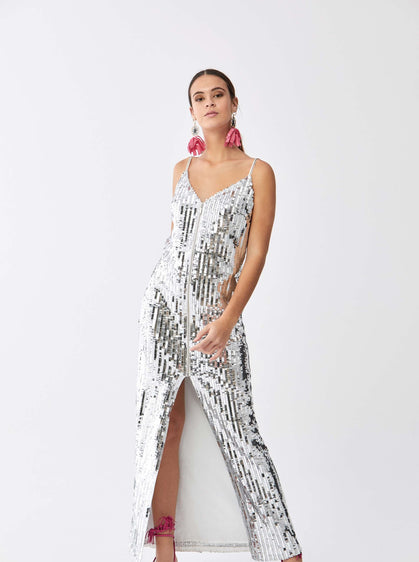 ROMAN USA-Sultry Silver Sequined Gown-- [SILVER]