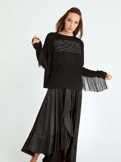 ROMAN USA-Embellished Fringe Trim Crewneck-- [BLACK]