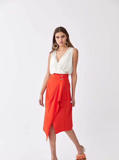 ROMAN USA-Asymmetric High-Waist Skirt-- [VERMILION]