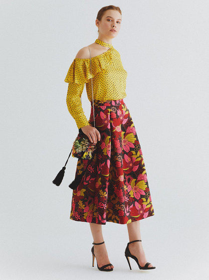 Warm Floral Tea Skirt