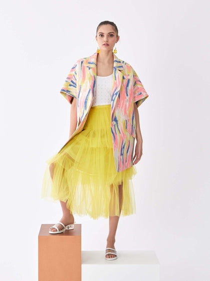 Watercolor Print Dolman Coat