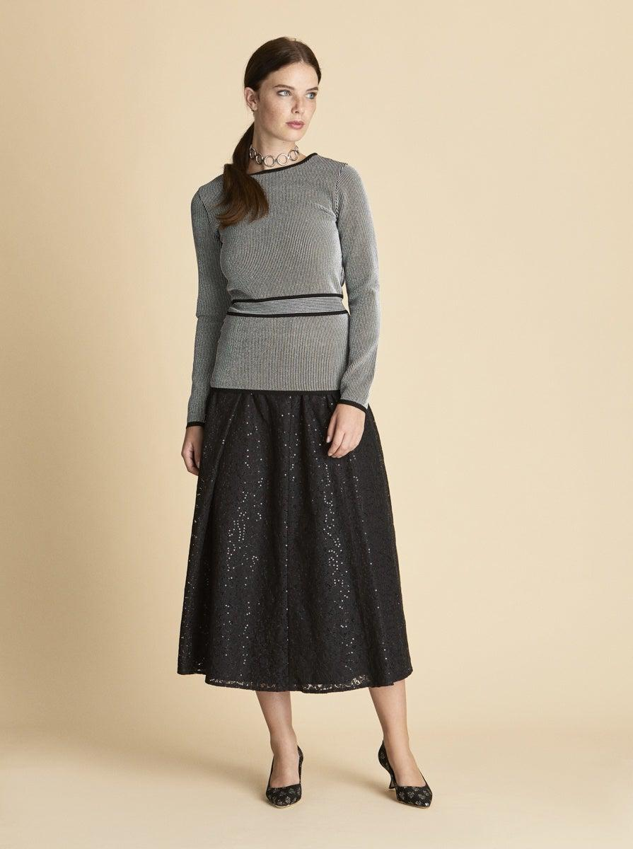 ROMAN USA-Belted Panel Knit Top-- [ORIGINAL]