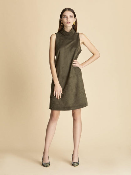 ROMAN USA-Suede Olive Sleeveless Dress-- [GREEN]