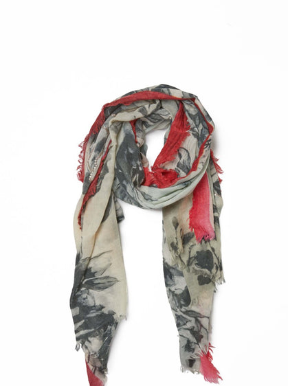 ROMAN USA-Watercolor Floral Print Scarf-- [ORIGINAL]