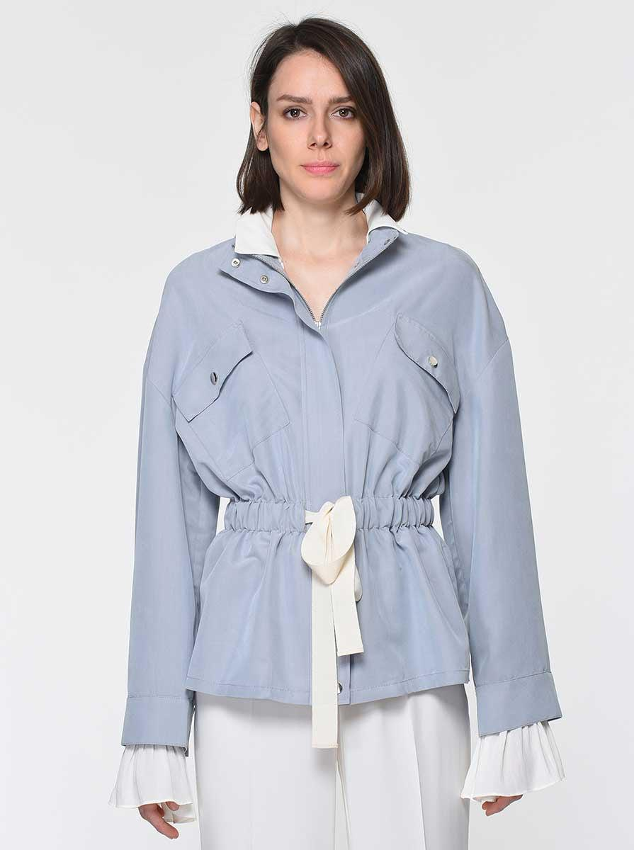ROMAN USA-Sporty Drawstring Jacket-- [GREY]