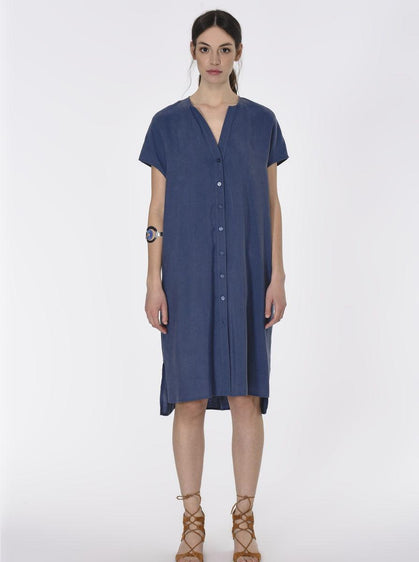 ROMAN USA-Essential Cap Sleeve Shirt Dress-- [INDIGO]