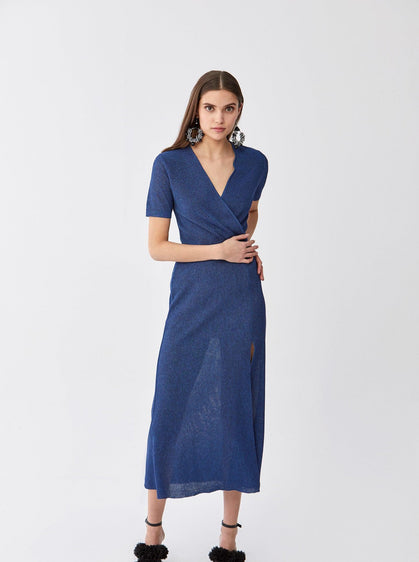 Side-Slit Knit Wrap Dress