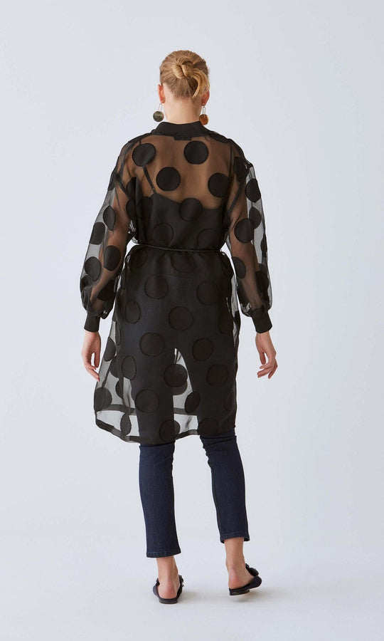 Sheer Jumbo Polka Dot Overcoat