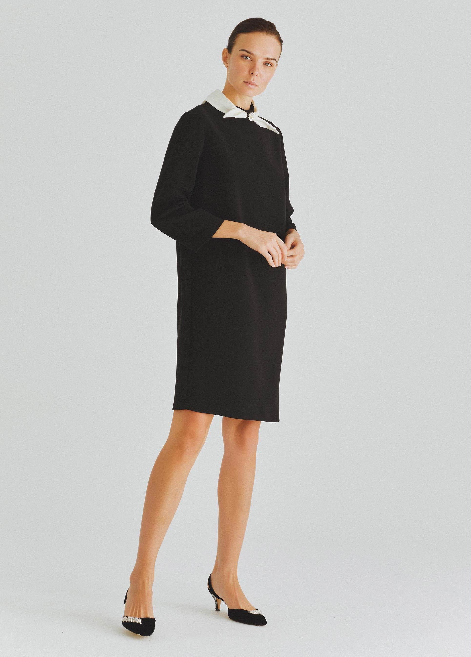 ROMAN USA-Neck Tie Shift Dress-- [BLACK]