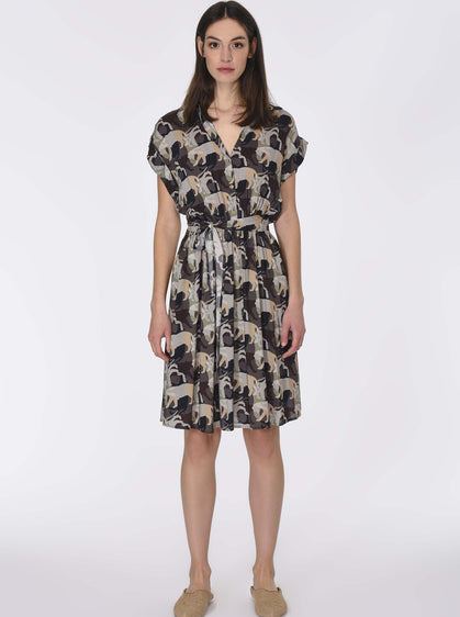 ANIMAL PLEATED DRESS
