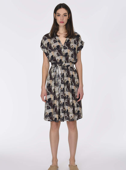 Safari Print Tie Dress