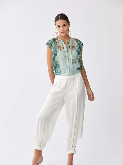 ROMAN USA-Crop Cut Balloon Pant-- [CREAM]